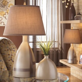 Signature Designs by Ashley Mia Beige Brown Ceramic Table Lamps ...