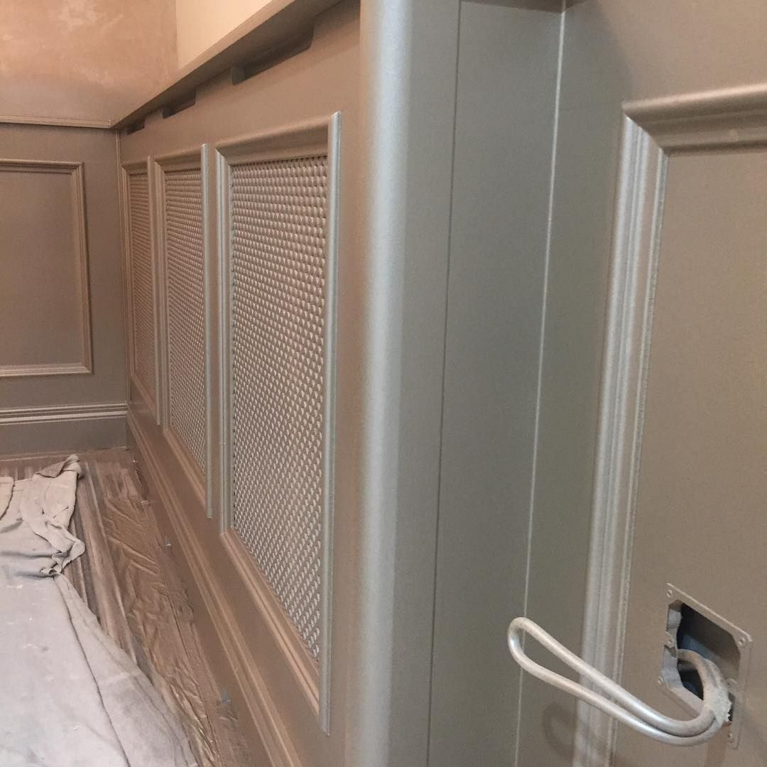 "Porter's Paints Ireland & UK on Instagram: ""#nofilter Porter's Duchess satin colour Ambassador Sterling being sprayed on wall Pannelling. This is the first coat. Will post more pics…"""