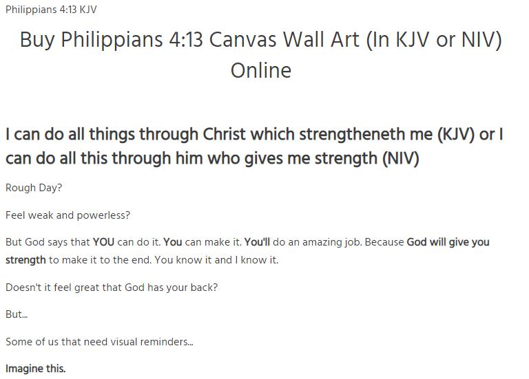 Buy Philippians 4 13 Wall Art Canvas In Kjv Or Niv Online In