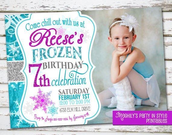 Cute Photo Printable Glitter Frozen Birthday Invitation Templates
