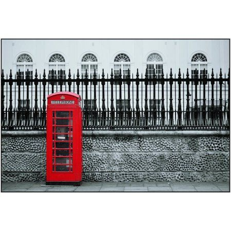 Red Telephone Box in Street, London Photography by Eazl, Size: 18 x 12, Silver