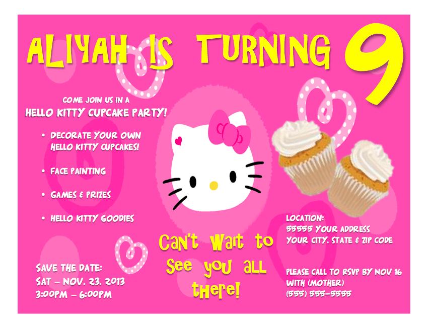 Custom Hello Kitty Birthday Invitation Cards on Etsy – Custom Hello Kitty Birthday Invitations