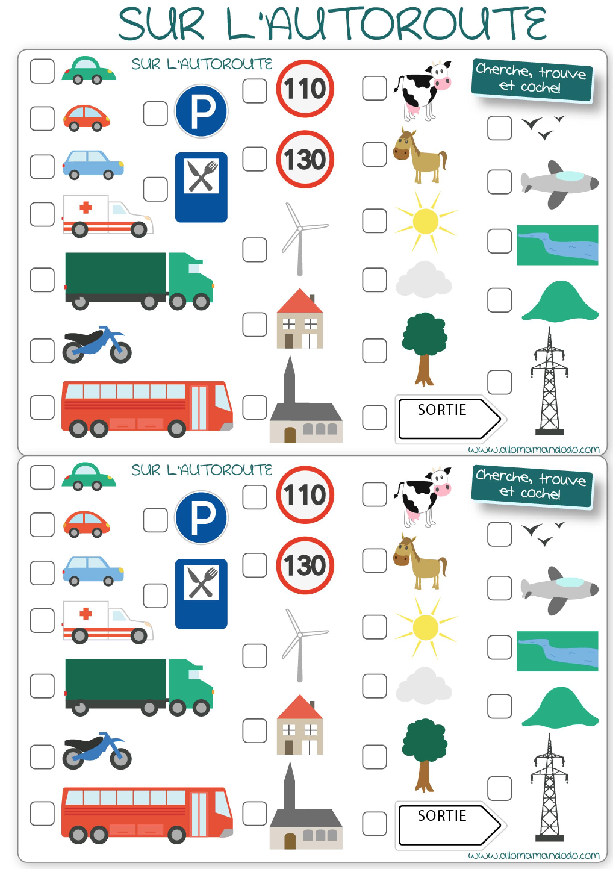 les occuper en voiture jeux de voyage bingo de la route imprimer loisirs enfants. Black Bedroom Furniture Sets. Home Design Ideas