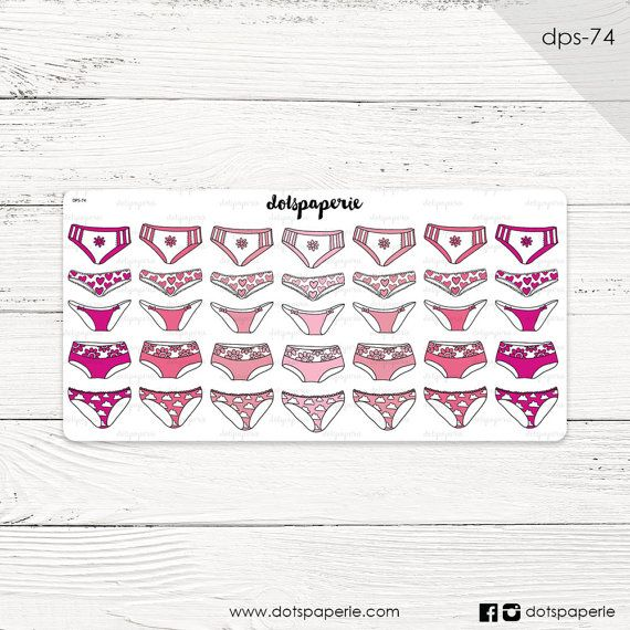 DPS-74 | 25 Pinky Panties (period-tracker) | Repositionable Planner Sticker | For Filofax, Kikki K, Erin Condren, Mambi