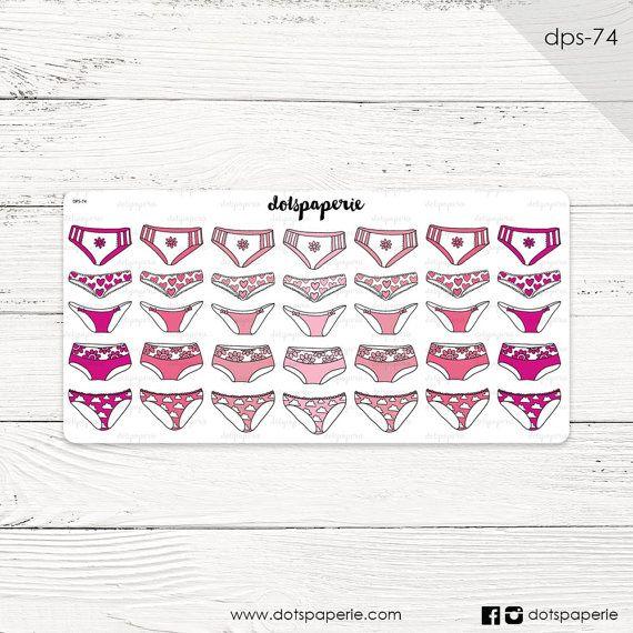 DPS-74 | 25 Pinky Panties (period-tracker) | Repositionable Planner Sticker | For Filofax, Kikki K, Erin Condren, Mambi