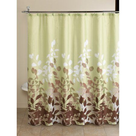 Mainstays Green Botanical Leaf 13 Piece Bath In A Bag Set Shower Curtain And