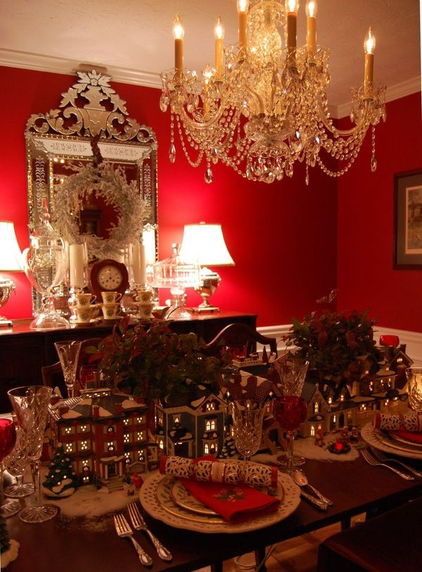 Christmas Village Tablescape Christmas Christmas Centerpieces Christmas Table Settings Holiday Tablescapes