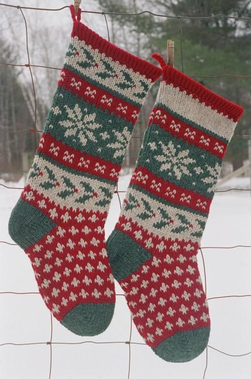 Holly Christmas Stocking Knitted Knitted Christmas Stocking