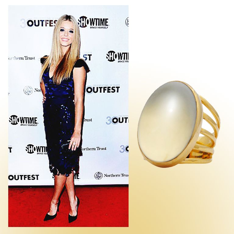 "The young star of tv's hit teen drama ""Pretty Little Liars,"" Sasha Pieterse, was recently seen wearing our Moonstone Gypsy Ring down the red carpet at the Outfest Legacy Awards!  The gold plated, all natural moonstone ring has a timeless look that complements any cocktail dress.  Sasha pairs this classic ring with navy blue to help accentuate the patterned and sequined details on the dress, making her pop on the red carpet!"
