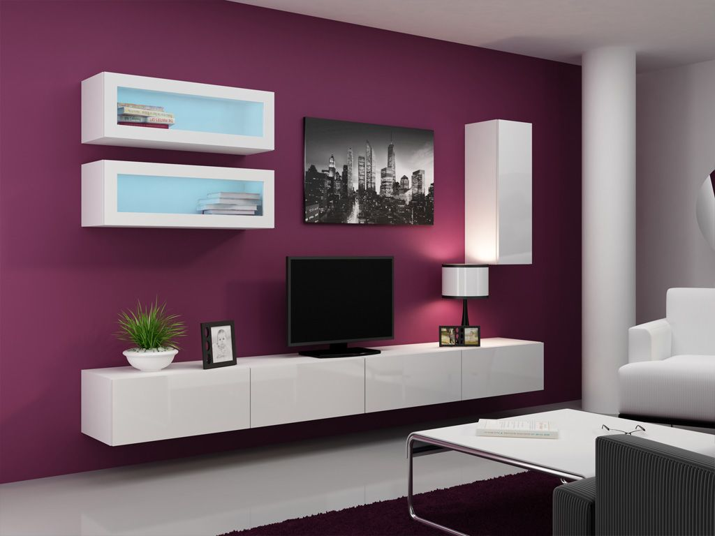 Seattle C1 Modern Wall Units Living Room Wall Units And Modern Wall # Meuble Tv Violet