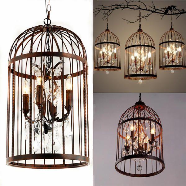 4 Head Black Bird Cage Crystal Chandelier Lamp Ceiling Pendant Lighting Fixtures Ac85 240v