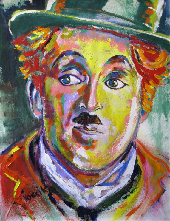 Yossi Original Art Giclee Print Of Charlie Chaplin Famous People