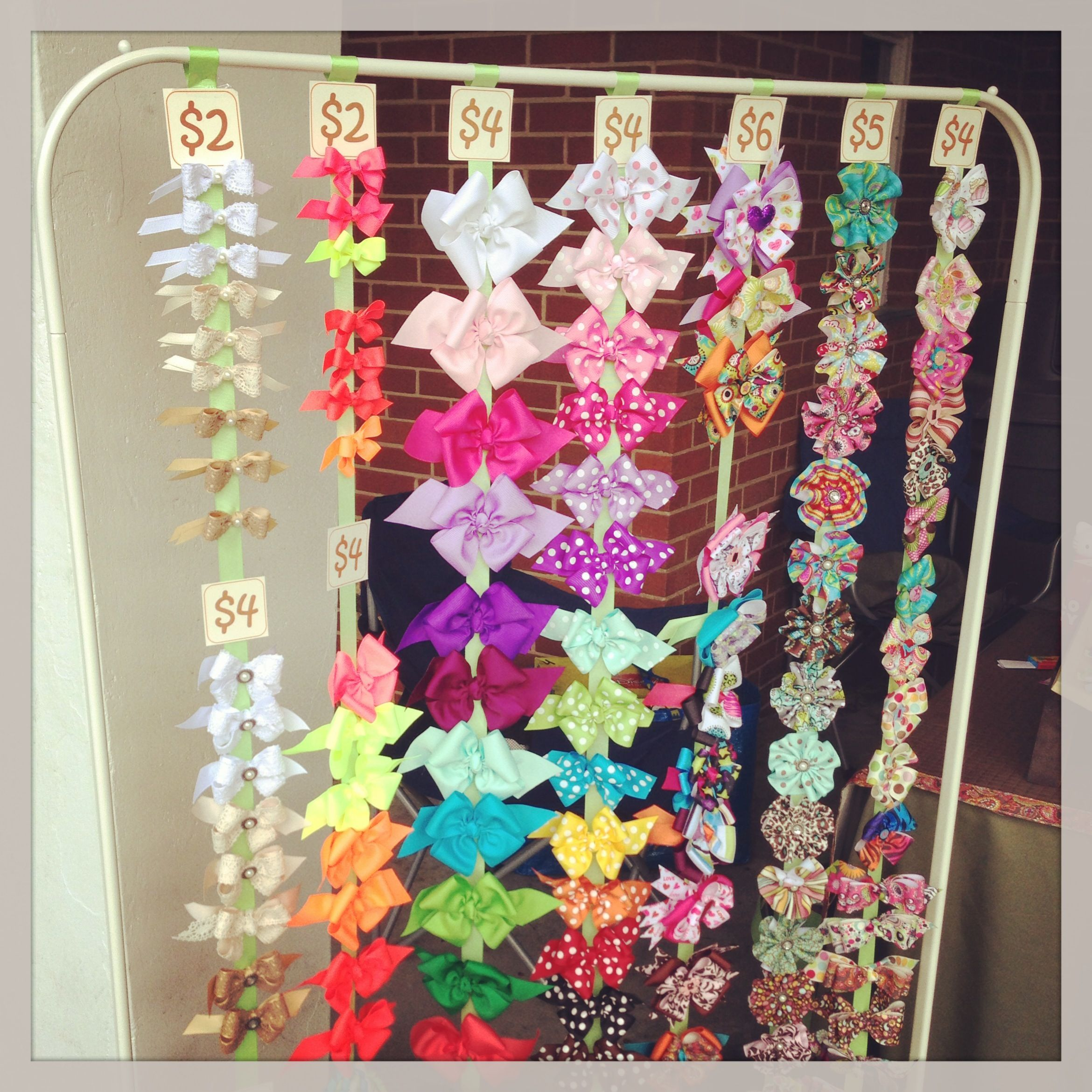 Hair bow display ok does this not look like curtain for Curtain display ideas