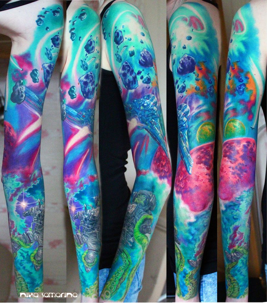 Jessi Lawson Artist I Love The Bright Colors: Space Tattoo Sleeve By NikaSamarina.deviantart.com On