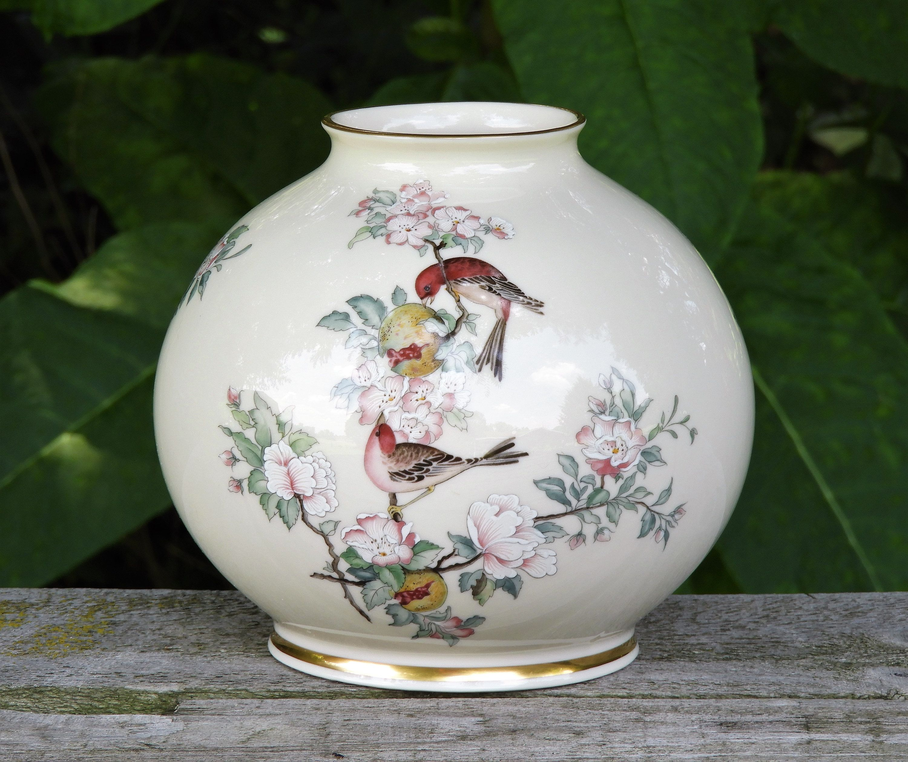 Vintage Lenox Vase Serenade Song Birds Globe Shape Bone