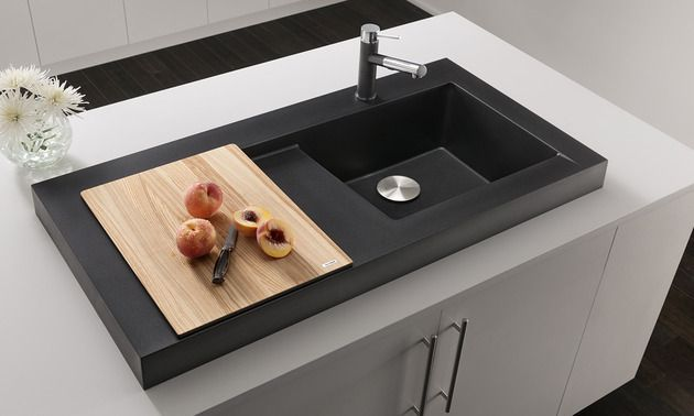 Elegant Raised Kitchen Sink Workstation With Dual Draining   Modex By Blanco