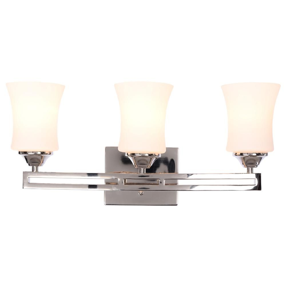 Hampton Bay Landon 3 Light Polished Nickel Vanity Light With Dual