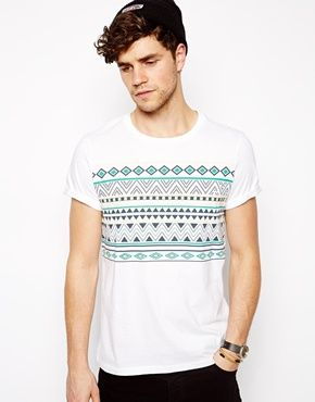 377923372b399 Stripe T-Shirt With Geo-Tribal Pattern   Transform Fashion into Style    Shirts, T shirt, Mens fashion