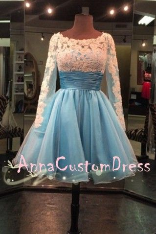 Long Sleeves Scoop Short Ivory Lace Light Blue Tulle Homecoming Dress