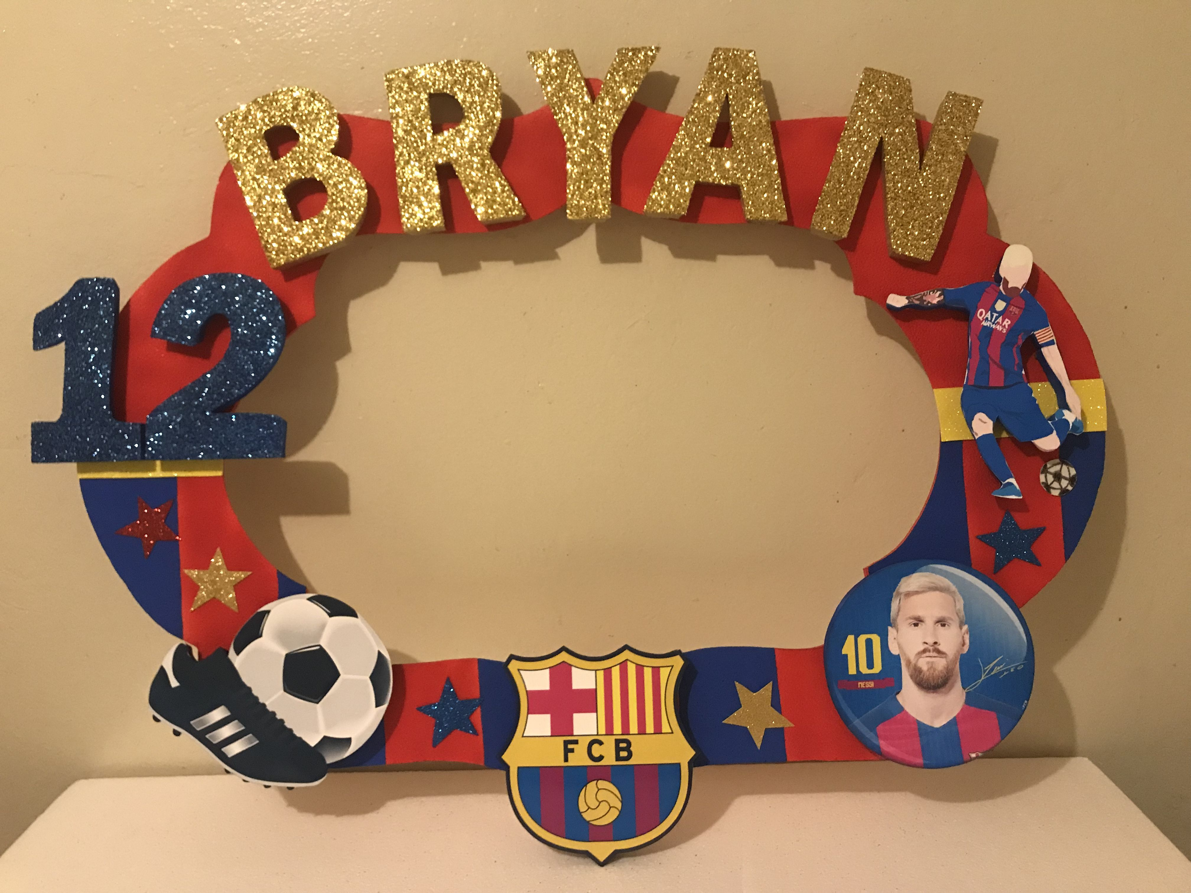 Barcelona Soccer Messi Foam Decorations Balls Photobooth Frame Characters Name Gool Ice Coolers Centerpieces Trophys Home Decor Decor Frame