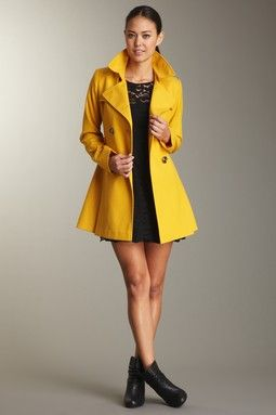 yellow pea coat! | If I Had Some Dolla Dolla Bills | Pinterest
