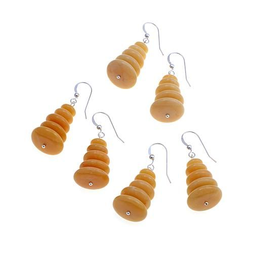 Mine Finds by Jay King Jay King Yellow Aragonite Stacked Rondelle Sterling Silver Drop Earrings