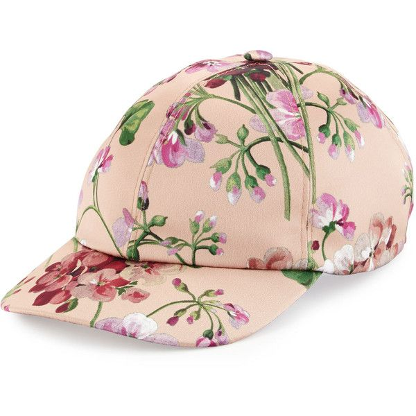 79c109c0295 Gucci Floral Satin Baseball Cap ( 455) ❤ liked on Polyvore featuring  accessories