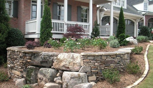This beautiful front yard retaining wall of mixed stones for Landscaping rocks melbourne