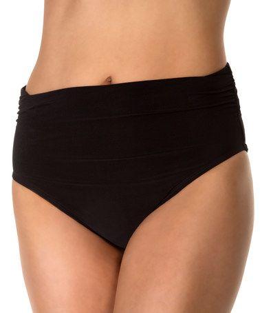Another great find on #zulily! Black Shirred Brief Bikini Bottoms #zulilyfinds