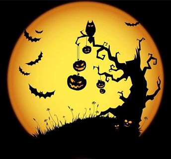 Scary Tree Owl Bats Pumpkins With Full Moon Backlight O 3 Halloween Images Halloween Silhouettes Halloween Moon