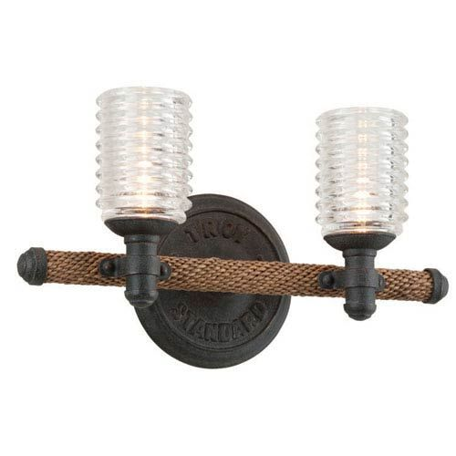 Photo of Troy B4152 Embarcadero Two Light Vanity Fixture in Shipyard Bronze / Antique Manila Rope Uplight, Early American Wood | Bellacor