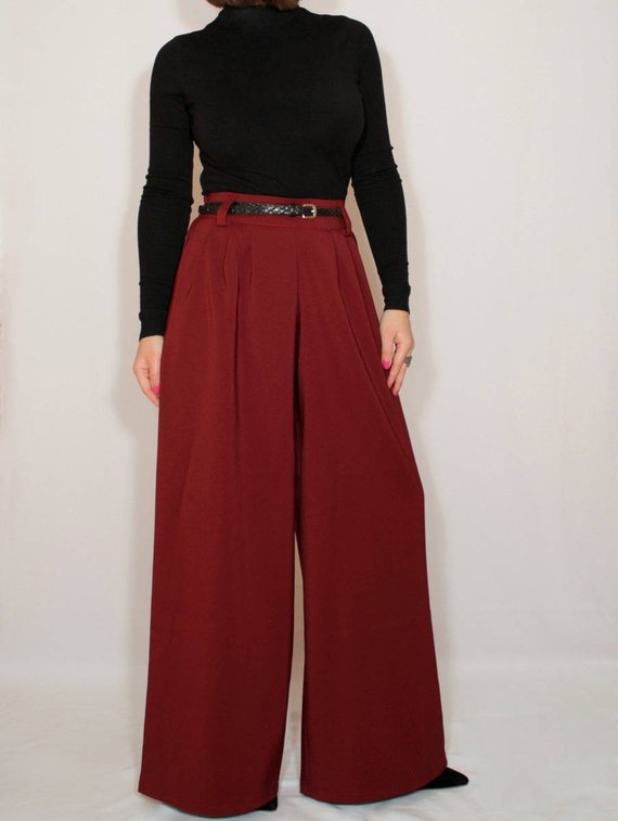 672d5e19e4c5 Wide leg pant Burgundy pants High waist Wide leg trousers Wine red Pants  with pockets