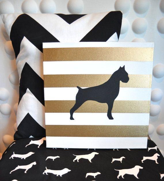 Best Gold Stripe Boxer Dog Black Silhouette 12X12 By 400 x 300