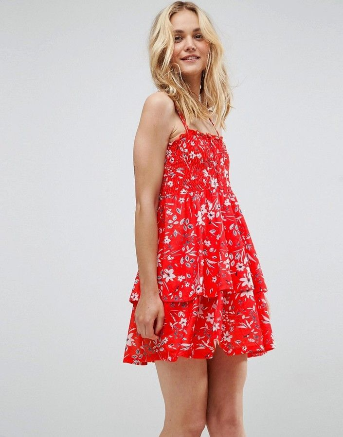 a282c7d135d471 ASOS Shirred Mini Sundress With Tiered Skirt In Red Ditsy Print ...