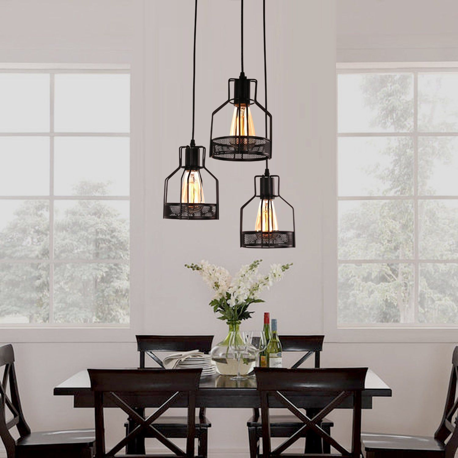 Rustic Black Metal Cage Dining Room Pendant Light with 3