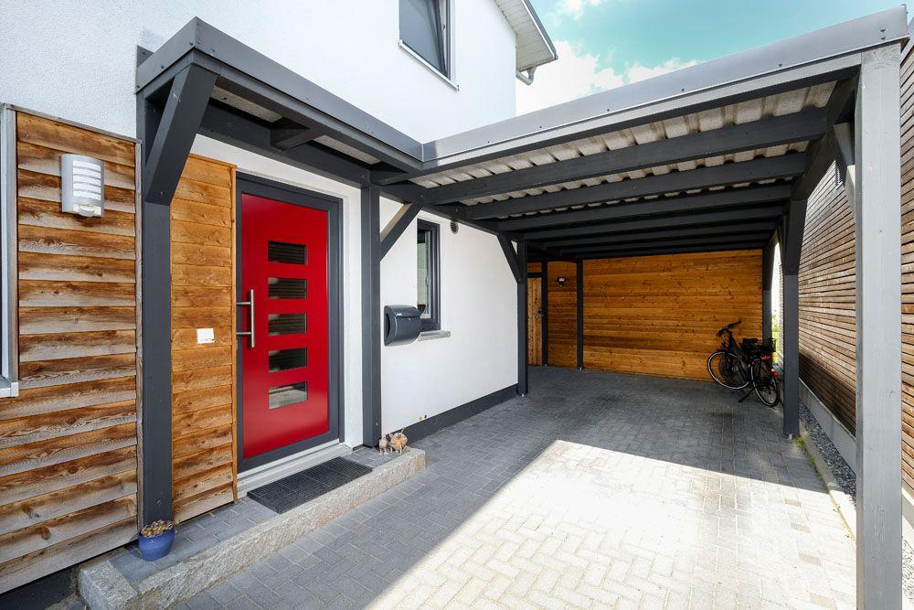 Hauseingang Mit Mini Vordach Und Carport Architektenhaus #hausbau #neubau  #einfamilienhaus #
