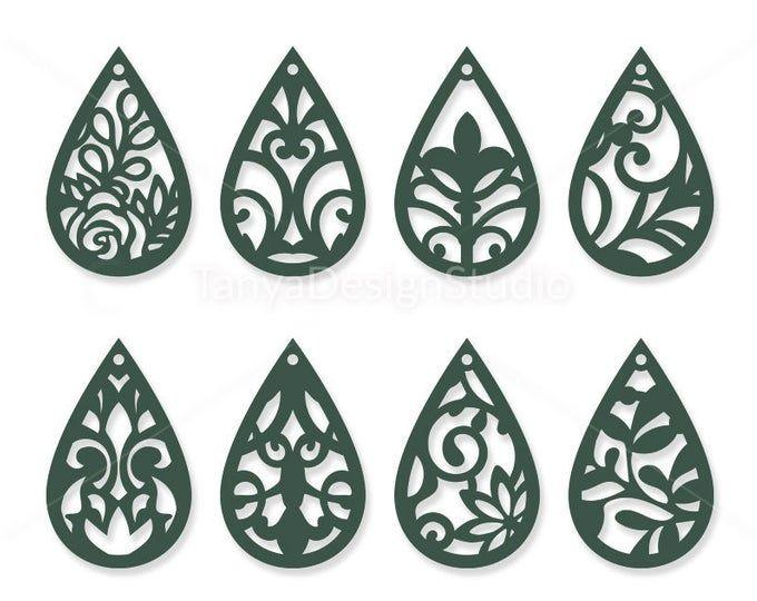 Photo of 100 Earrings Bundle VOL.1 – Leather jewelry – Leather earrings – Wooden earrings – Laser cut – Cutting File – Cricut – Silhouette – 061
