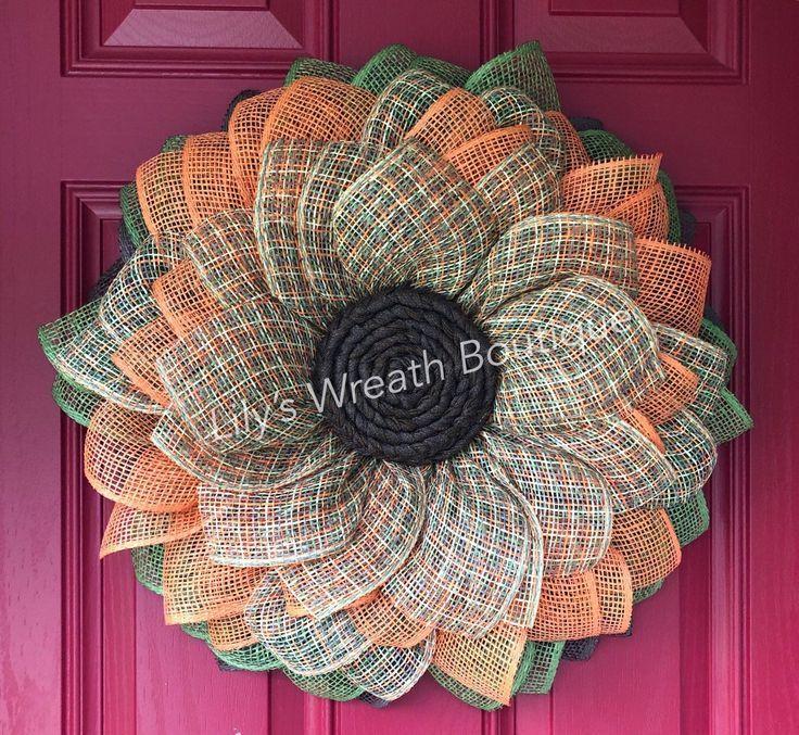 Photo of Best Selling Herbst Sonnenblume Kranz, Sackleinen Kranz, Sackleinen Blume, Haust…