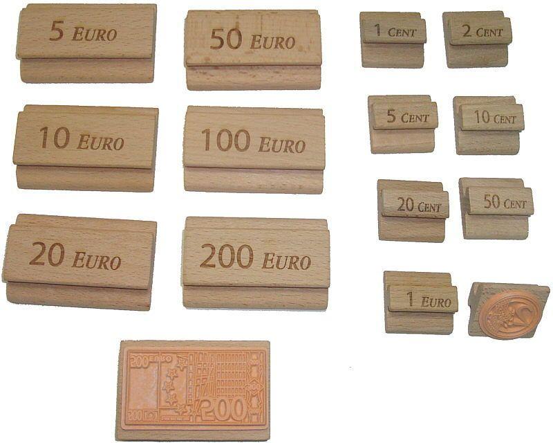 Stempel um Euro-Scheine und Münzen zu stempeln. Ideal für Montessori ...