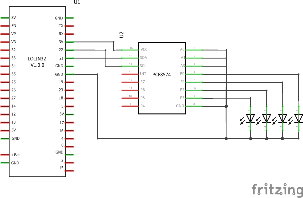 ESP32 and a PCF8574 expander example #esp32 #microcontrollers