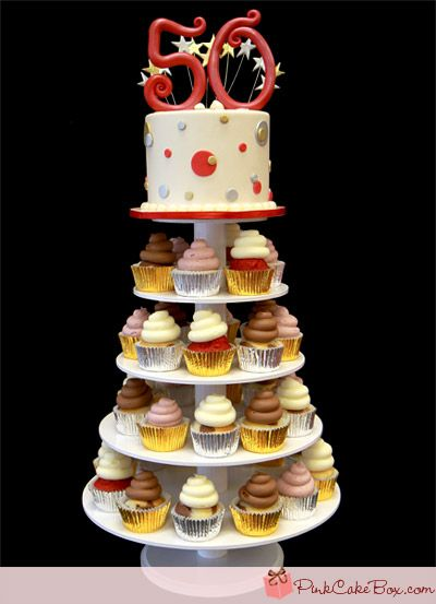 50th Birthday Cupcake Tower The Top Of Cake Includes A Red Standing 50 With Silver And Gold Wires Polka Dots In Decorate
