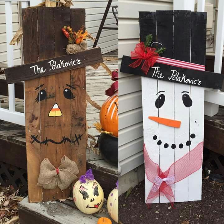 Reversible scarecrow snowman pallet creation ideas for How to make a wood pallet snowman