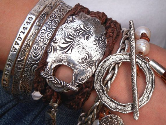 Stacked Leather Wrap Bracelet Sterling Silver And Triple Great Look