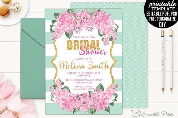 Mint Gold And Pink Bridal Shower Bridal Shower Invitations