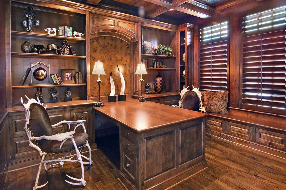 Two Person Desk Home Office Furniture Traditional Built In Desk More