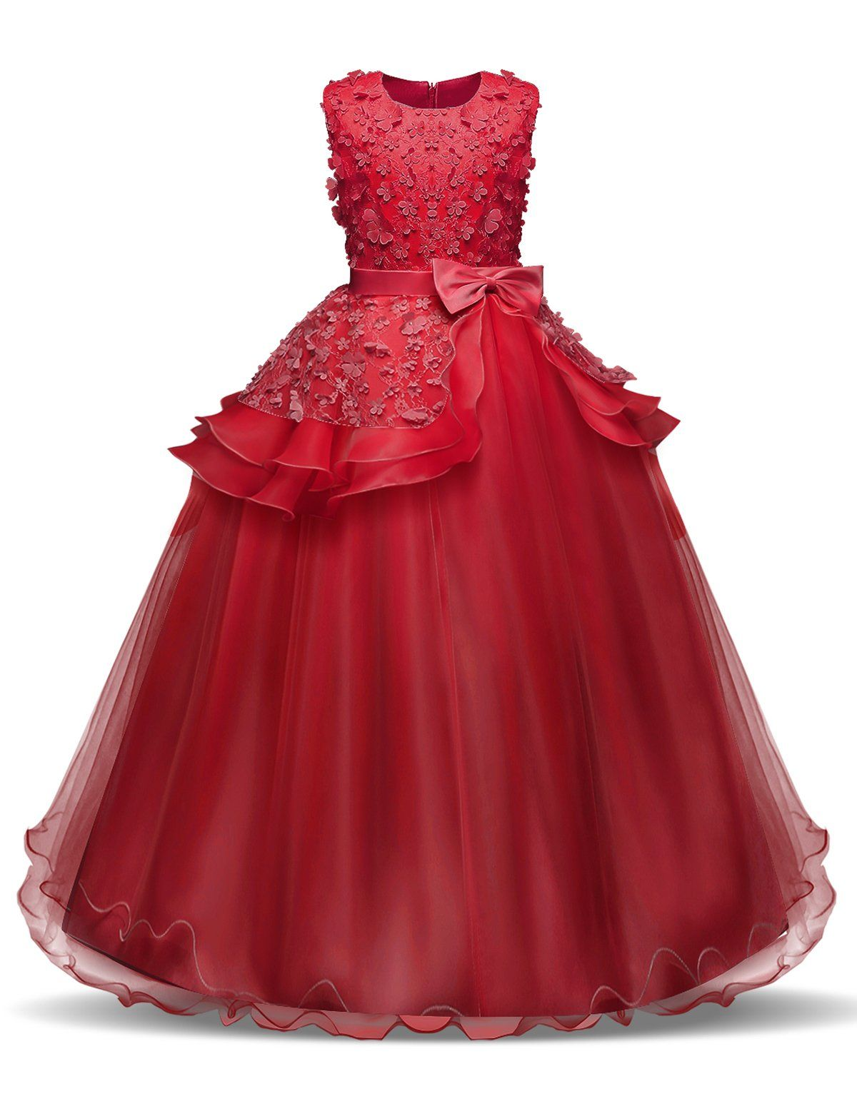 6069cf1e1d6 NNJXD Girl Sleeveless Embroidery Princess Pageant Dresses Kids Prom Ball Gown  Size 160 1112 Years Red   See this excellent product.