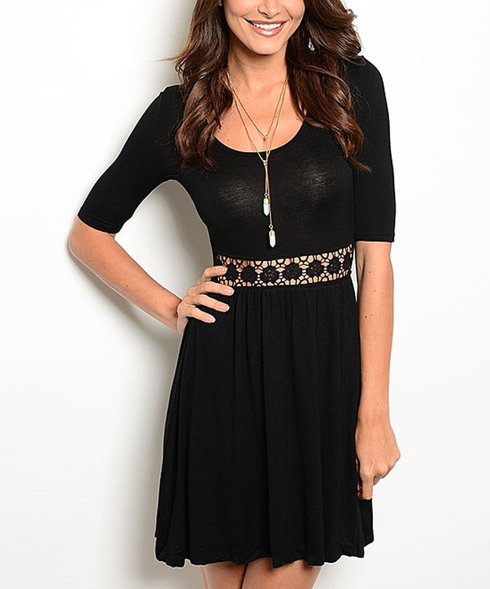 This 24|7 Frenzy Black Lace-Inset Skater Dress by 24|7 Frenzy is perfect! #zulilyfinds