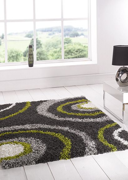 Lime Green Rug | Nordic Shaggy Rugs Equator Lime Green Steel Patterned  Shaggy Rugs