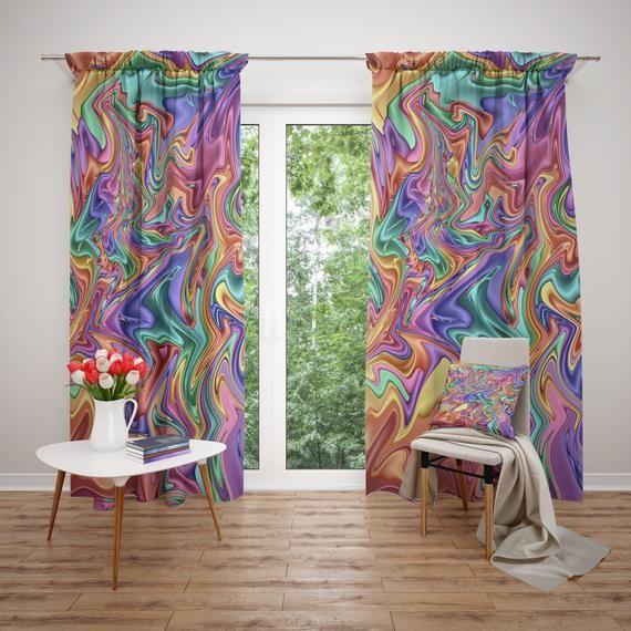 Window Curtains Crazy Pastel Swirl Boho Chic