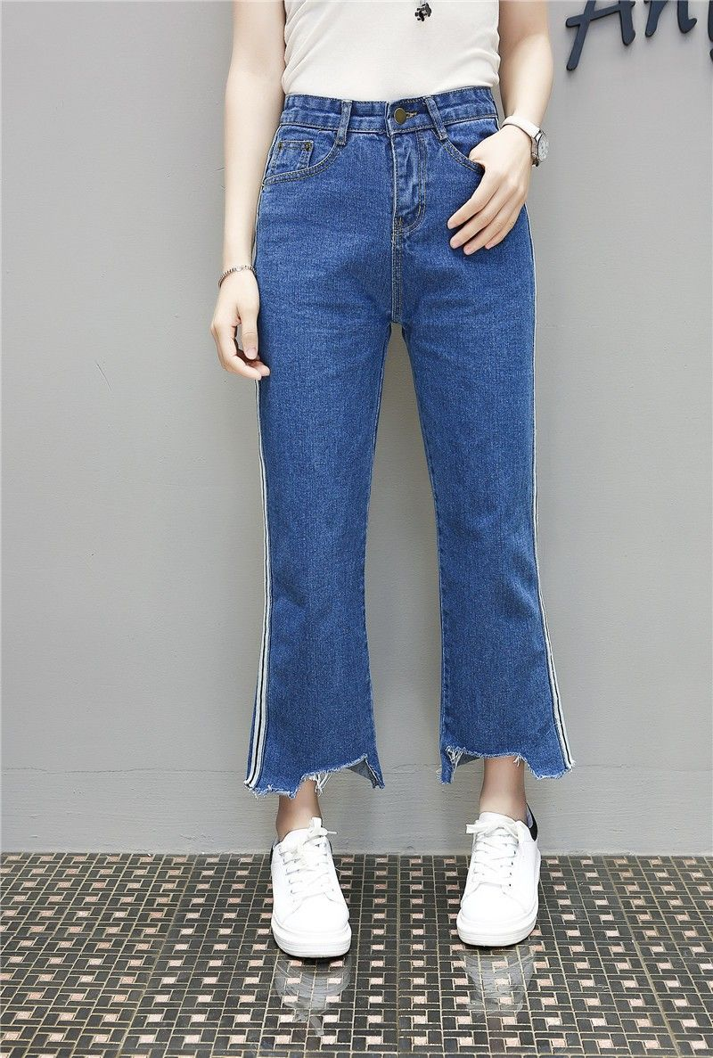 757b37ace1 L6657 2017 latest fashion top design irregular high waist baggy pants wide  leg edging relax hot sexy girls jeans for woman stock Alibaba Manufacturer  ...